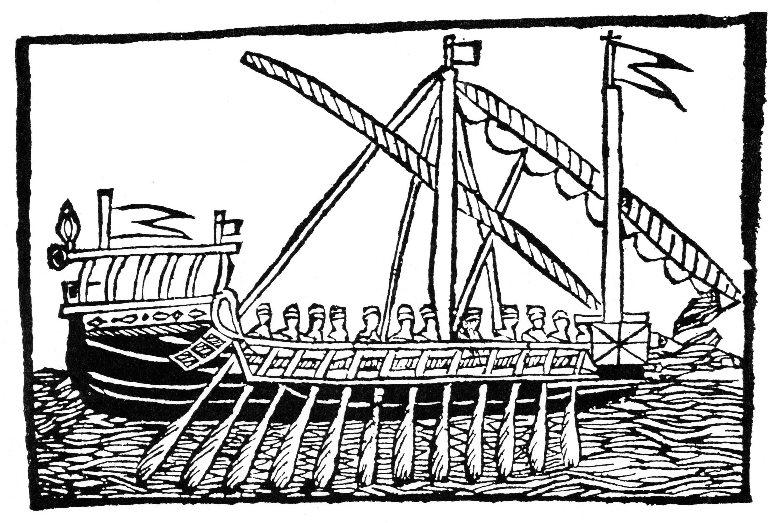 Galea quattrocentesca in una xilografia dell'epoca.