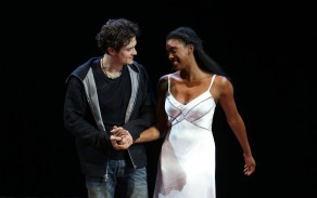 "NEW YORK, NY - AUGUST 24: Orlando Bloom and Condola Rashad during the ""Romeo And Juliet"" On Broadway First Performance at the Richard Rodgers Theatre on August 24, 2013 in New York City. (Photo by Walter McBride/WireImage)"