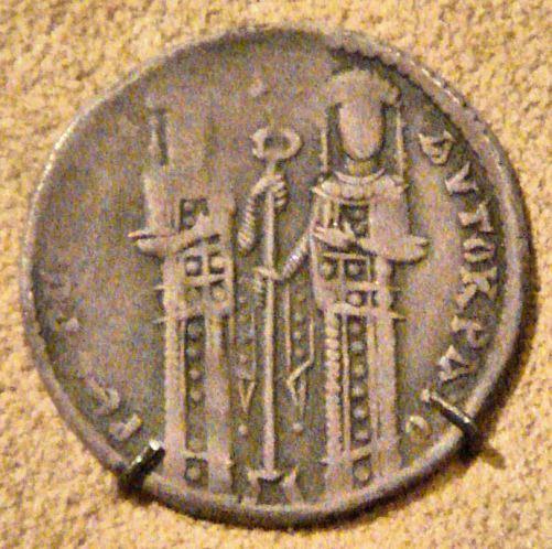 Basilikon d'argento che rappresenta Andronico II accanto al figlio Michele IX Paleologo