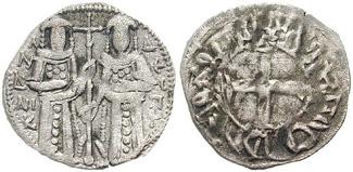 Tornese di Andronico II che lo rappresenta accanto al figlio Michele IX Paleologo
