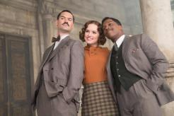 "L-r, Manuel Garcia Rulfo, Daisy Ridley and Leslie Odom Jr. star in Twetieth Century Fox's ""Murder on the Orient Express."""