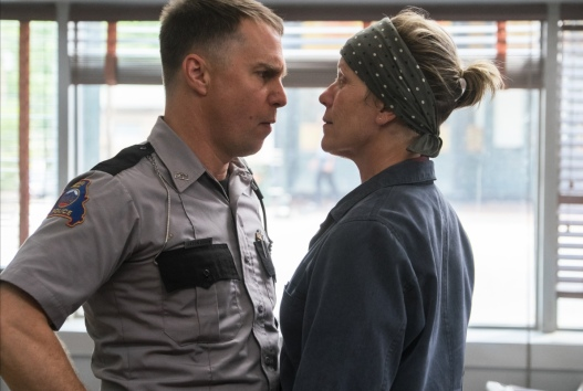 Sam Rockwell and Frances McDormand in the film THREE BILLBOARDS OUTSIDE EBBING, MISSOURI. Photo by Merrick Morton. © 2017 Twentieth Century Fox Film Corporation All Rights Reserved