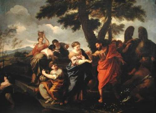LST204418 Rebecca at the Well (oil on canvas) by Garzi, Luigi (1638-1721) oil on canvas 73.7x101 Private Collection © Lawrence Steigrad Fine Arts, New York Italian, out of copyright