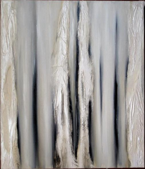 LUCI e SPESSORI 2 (gris) huile et collage s toile 60x70cm- 2006,mail